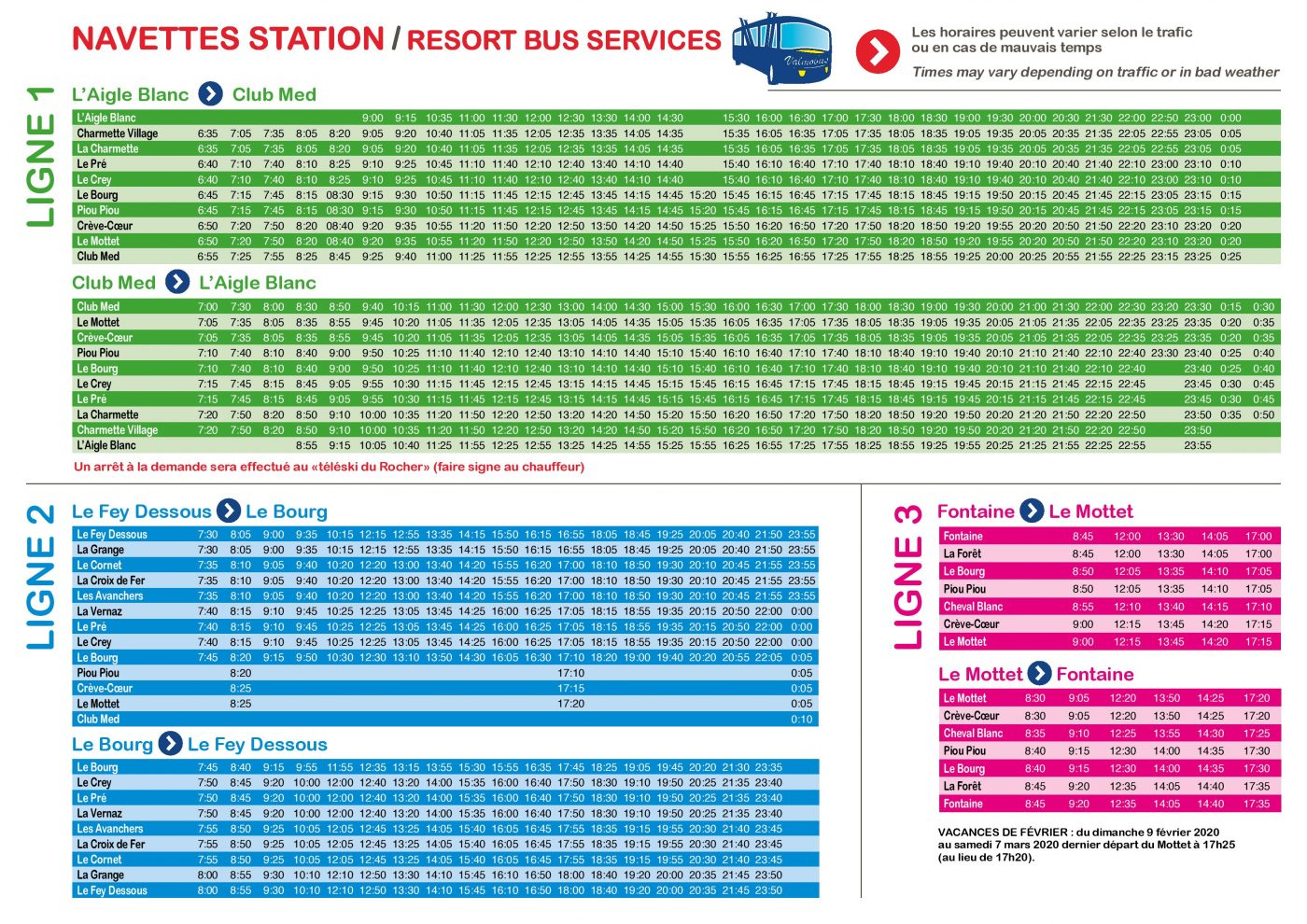 Horaires navettes Valmobus hiver