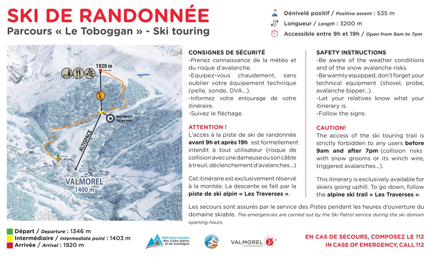 Parcours de ski de randonnée le toboggan à Valmorel